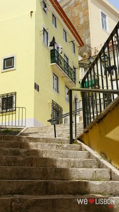 Pretty streets in Alfama Lisbon