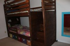 Bunkbed with bookshelves, stairs and storage bins | Do It Yourself Home Projects from Ana White