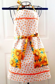 Apron - Oilcloth Apron - Orange Polka Dot with Sunflowers Reversible Apron on Etsy, $40.00