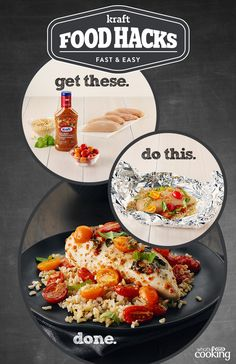 Foil-Pack Bruschetta Chicken #recipe. Dinner doesn't get any easier than this. #foodhacks