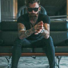 #man #sunglasses #hair #haircut #blacktshirt #jeans #outfit #tattoo #tattoed #badboy #beard #beardlife #love #nice #cute #photo #instaphoto #instagram #picoftheday by hipstercompany