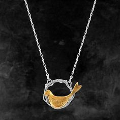 Bird in Nest, Silver and Gold-Plated Necklace by Xuella Arnold #Handmade #Jewellery #Unique