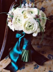 Elegant French Jewel Tone ribbons are a perfect accent to the creamy flowers