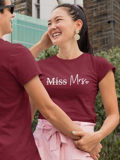 """Only $19.99 · """"Miss to Mrs"""" a fun bride shirt any bride to be would be excited to wear. Because going from being Ms. to Mrs. is the most interesting journey in life. Bachelorette Party Gifts, Bride Shirts, Gifts For Wife, Ms, Tee Shirts, Journey, Mens Tops, How To Wear, Life"""