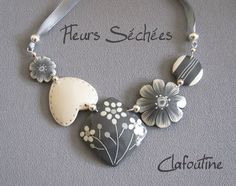 grey and white sculpy necklace