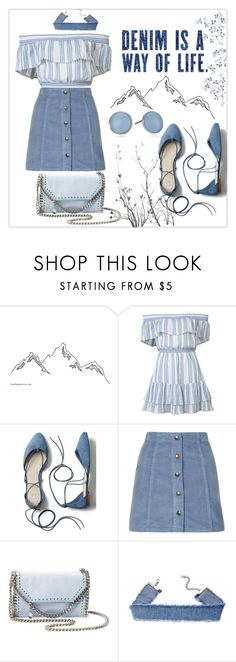 """""""Off Shoulder Blue"""" by dittetr ❤ liked on Polyvore featuring LoveShackFancy, Gap, Topshop, STELLA McCARTNEY and Skagen"""