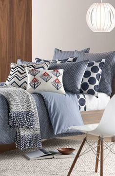 Blue bedroom inspiration! Loving the mixed patterns.