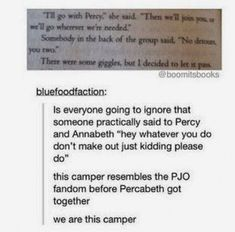 The whole percy jackson series was just the campers like shipping percy and Annabeth Percy Jackson Memes, Percy Jackson Books, Percy Jackson Fandom, Apollo Percy Jackson, Percy And Annabeth, Annabeth Chase, Solangelo, Percabeth, Fandoms Unite