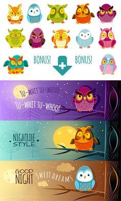 Owls Set by Flourish Forever on Creative Market