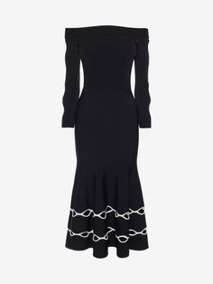 7d1878d595 Shop Women  s Black White Off The Shoulder Knit Dress from the official online  store of iconic fashion designer Alexander McQueen.