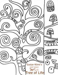 Klimt's Tree of Life Handout – Deep Space Sparkle – Gardening for beginners and gardening ideas tips kids Gustav Klimt, Tree Of Life Art, Tree Art, Zentangle, Art Handouts, Deep Space Sparkle, 4th Grade Art, Art Worksheets, Ecole Art