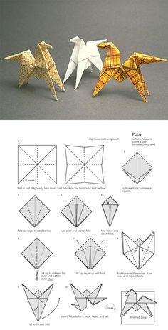 Origami Pferd / horse / at                                                                                                                                                      More