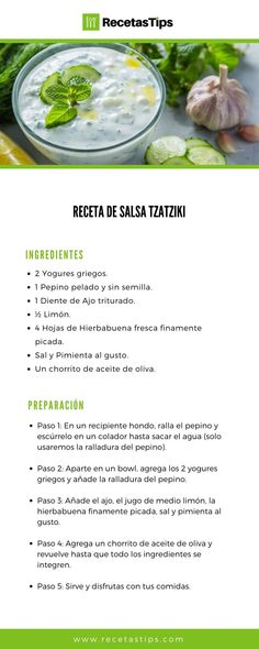 Salsa Tzatziki, Salsa Ranch, Recipe Drawing, Good Food, Yummy Food, Food Garnishes, Savoury Cake, Light Recipes, Food And Drink