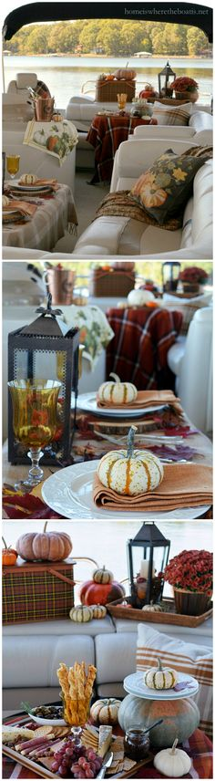 Fall Pontoon Picnic | homeiswheretheboatis.net #plaid #boat #LakeNorman