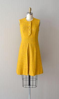 Love the placket! 1960s dress / mustard shift dress / Mad about Saffron dress. $115.00, via Etsy.