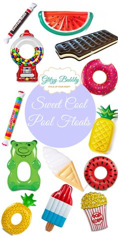Cool Pool Floats to make your pool parties colorful and fun.  More party ideas at the blog at www.glitzybubbly.com  – Glitzy Bubbly Party Ideas Blog