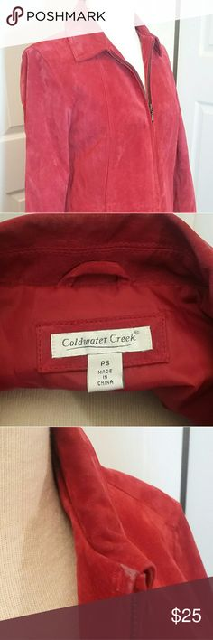 Coldwater creek Red Leather Jacket size PS Lovely deep red leather jacket great condition. Small wear around collar.  By Coldwater Creek,  2 pockets, lined. Coldwater Creek Jackets & Coats