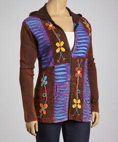 Look what I found on #zulily! Brown & Purple Patchwork Hoodie - Plus by Rising International #zulilyfinds