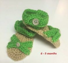 Baby Girls Lime Green Sandal, Size 6 to 9 months, Hand Crocheted, Shoes #HandmadeCrocheted #Sandals