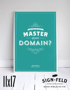 """Master of your Domain 11x17"""" - Seinfeld Quote Print - Vintage Retro Typography"""