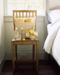 With the addition of a few niceties, your spare bedroom will be as inviting to visitors as a fine hotel room. Set out essentials such as towels and an alarm clock, then provide little luxuries as well: bottles of water, foil-wrapped chocolates, and a few cut blooms in a vase.