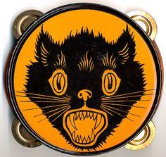 Vintage Black Cat Halloween Tambourine