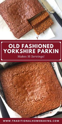 Pinterest image of Yorkshire Parkin sliced and unsliced. Parkin Cake Recipe, Parkin Recipes, Bonfire Toffee, Yorkshire Parkin, Sticky Ginger Cake, Easy Sponge Cake Recipe, Old Fashioned Cake Recipe, Sheet Cake Recipes, Sheet Cakes