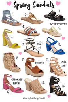 One thing that I love about this time of year (besides the warmer weather) is that I can finally bring out my sandals again! There are so many different types of sandals. Capsule Wardrobe Women, Types Of Sandals, Fashion Terms, Flats Outfit, Spring Sandals, Types Of Skirts, College Fashion, Fashion Ideas, Fashion Design