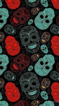 Super Ideas For Wallpaper Preto Caveira Trendy Wallpaper, Dark Wallpaper, Cute Wallpapers, Wallpaper Backgrounds, Iphone Wallpaper, Phone Backgrounds, Wallpaper Calaveras, Sugar Skull Wallpaper, Day Of The Dead Art