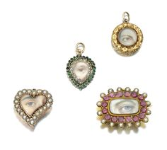 COLLECTION OF FOUR PORTRAITS OF EYES, CIRCA 1820 AND LATER Comprising: an asymmetric heart-shaped brooch, containing a miniature depicting a gentleman's right eye, with brown iris; a rectangular brooch, inset with a portrait miniature of a gentleman's left eye, with blue iris; a pear-shaped pendant set with a miniature of a gentleman's right eye with brown iris and miniature of a lady's right eye with brown iris, to a repoussé frame, circa 1830, all painted on ivory
