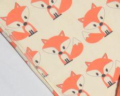 Little Fox Organic Baby Blanket - Single layer of organic cotton knit - Cream Background - Gender Neutral