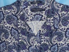 DANIEL CREMIEUX Button Front SILK & LINEN Shirt Men Size XXL 2XL Purple Paisley