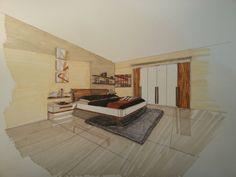 hand rendering - sketch - bedroom