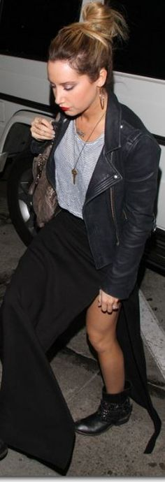 Ashley Tisdale: Shoes – Barney's CO-OP  Jacket – IRO  Purse – Givenchy