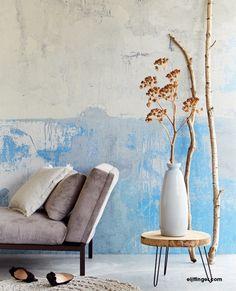 Eijffinger Resource Wallpower 369153 Blue Grey Weathered Wall