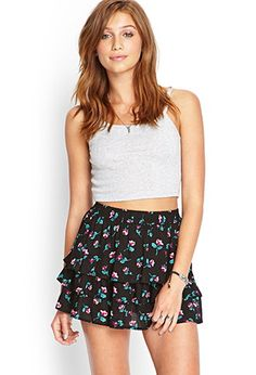 Tiered Floral Mini Skirt | Forever 21 - 2000103601