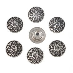 Souarts Antique Silver Color Sunflower Pattern Round Metal Button for DIY Pack of 50sets -- Click image for more details.