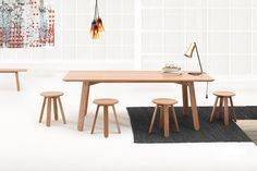 Half Full Collection by Ross Gardam. Available exclusively from Stylecraft. Furniture Dining Table, Space Furniture, Furniture Making, Furniture Design, Wood Design, Design Crafts, Contemporary Furniture, Minimalist, Lighting Products