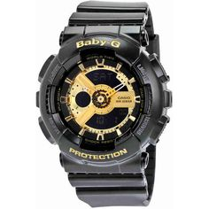 Casio Baby G Black Resin Ladies Watch ($75) ❤ liked on Polyvore featuring jewelry, watches, sport watch, dial watches, casio wrist watch, resin watches and resin jewelry
