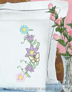 Cross Stitch Pillowcases, Butterfly