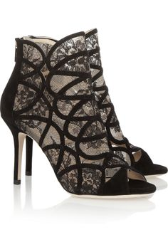 Jimmy Choo|Fonda suede and lace sandals|NET-A-PORTER.COM  **great winter party shoes, just wear black tights underneath!