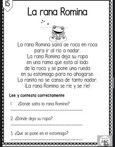 Spanish Classroom Activities, Spanish Teaching Resources, Spanish Language Learning, Spanish Lessons, Teaching English, Short Stories To Read, Learning Sight Words, Kids Education, Reading Comprehension
