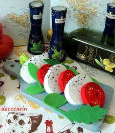 Felt Food Caprese Salad featuring: Fresh Mozzarella, Tomato Slices, Basil and Arugula ............................................................. by decocarin   Etsy