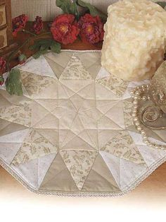 Quilting - Home Decor - Table Topper Quilt Patterns - Morning or Evening Star Quilted Candle Mat Pattern - #FQ00130