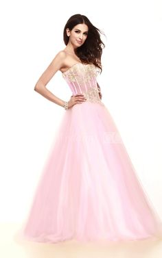Pastel Strapless A-Line Princesses Sweet 16 Dress With Appliques and Tulle Overlay. #princesses #sweet16 #DorisWedding.com
