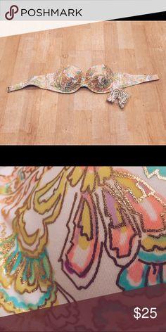 NWT VS Swimsuit push-up bandeau 32B  Brand new Victoria's Secret push-up bandeau swimsuit top! Size 32B. Colorful paisley print with gold detailing.  Victoria's Secret Swim Bikinis