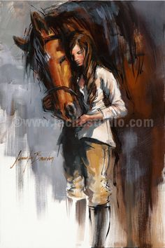 "Horse Art, Horse Painting, ""Horse & Girl"", Hand Embellished Giclée, Painted Fine Art Print. $645.00, via Etsy."