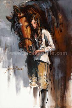 "Horse Art, Horse Painting, ""Horse & Girl"", Hand Embellished Giclée, Painted Fine Art Print. $645.00, via Etsy."
