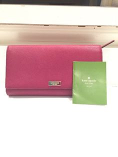 Kate Spade Leather Trifold extra large credit card checkbook wallet