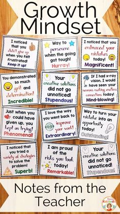 Do you teach your students about growth mindset? These notes from the teacher are the perfect complement to my other growth mindset products, including affirmation posters, flip books, and a growth mindset privacy office! Easy to use for teachers and ver Social Emotional Learning, Social Skills, Teaching Strategies, Teaching Resources, Student Teaching, Teaching Ideas, Student Leadership, Student Goals, Teaching Skills